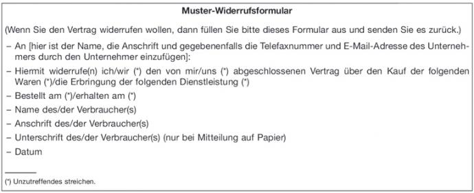 Widerrufsformular: Anlage 2 zu Art. 246a EGBGB