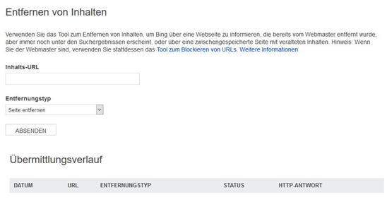 Screenshot Bing-Löschmaske zur Entfernung veralteter Inhalte