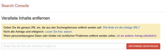 Screenshot Google Search Console: Löschmaske zur Entfernung veralteter Inhalte