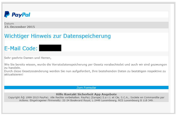 E-Mail in PayPal-Aufmachung: Phishing-Versuch